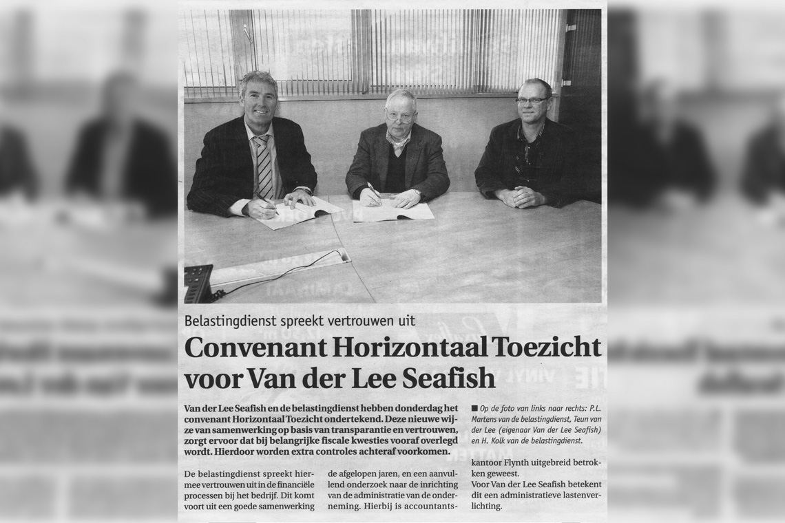 Van der Lee Seafish unterzeichnet eine Vereinbarung mit dem Finanzamt
